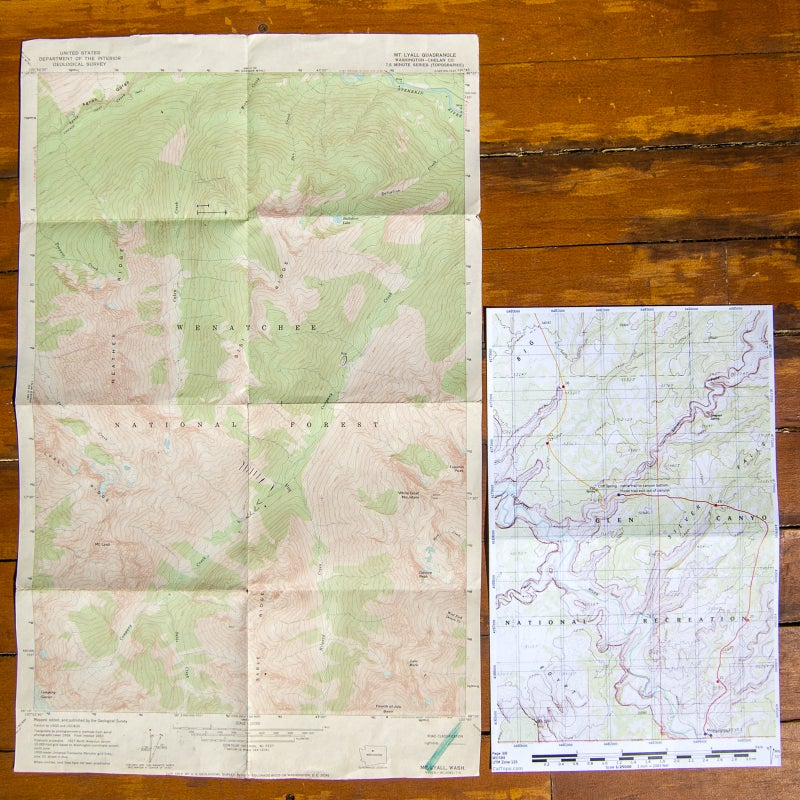 Left: An original USGS 7.5-minute quadrangle. Right: A custom map based on the same map series, digitally annotated and exported to a print-ready 11-by-17-inch PDF using CalTopo.