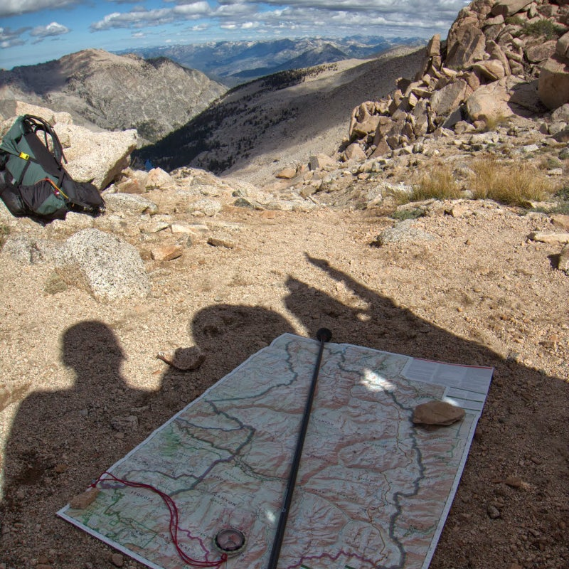 From Colby Pass in California's Sequoia–Kings Canyon, we were intrigued by a prominent peak on the north horizon. Using our Trails Illustrated overview map, we concluded that it was Mount Goddard, 30 miles away and still inside the park.