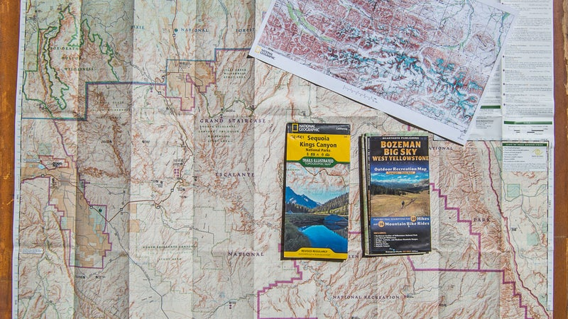 Here are several examples of overview maps. Commercial recreation maps are best, since they're updated regularly and include more than just topographic data. When unavailable, I custom-print USGS 30-by-60-minute or 250K map series on 11-by-17-inch paper (upper right).