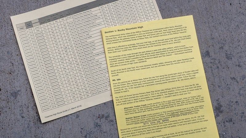 An example of a data sheet (left) and a route description (right)