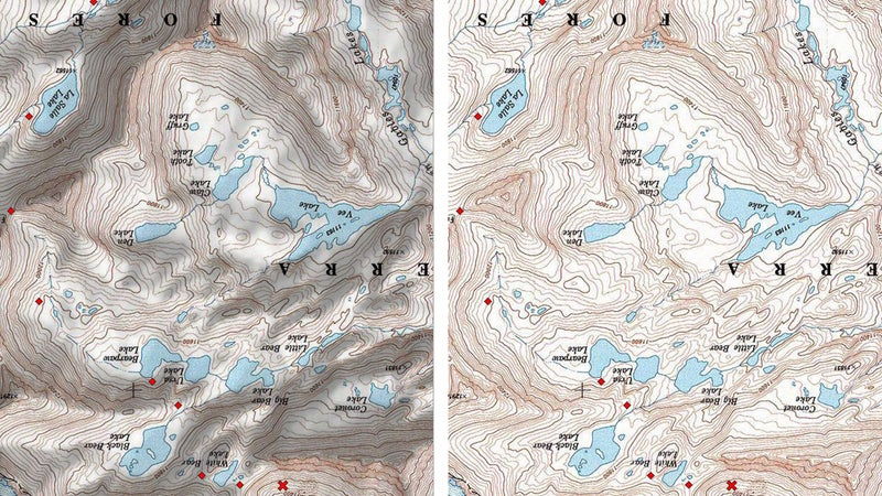 When a shaded relief map is viewed upside down (left), the shading can fool your eyes, making canyons look like ridgetops and mountains look like valleys. For field use, it's better to use a map without shaded relief (right).