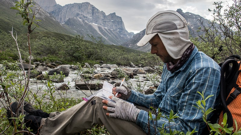Taking route notes in the Brooks Range of Alaska
