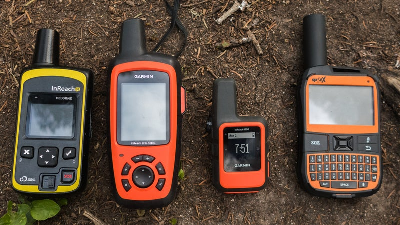 The inReach Explorer+ (second from left) combines inReach messaging with the functionality of a handheld GPS unit. With the older SE (far left) and Mini (third from left), you must use the Earthmate app. The Spot X (right) has two-way satellite messaging and crude GPS functionality.