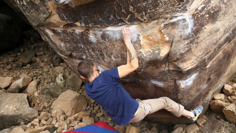 Santa Fe–based climber Har Simran Khalsa working out the beta to Calm Ethereal (V13) in the First Streambed area