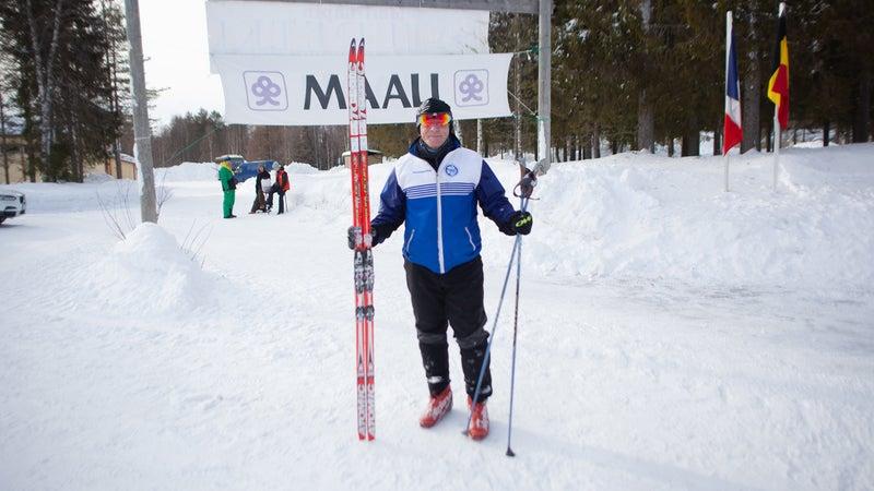 Stevens at the finish line, near the Swedish border