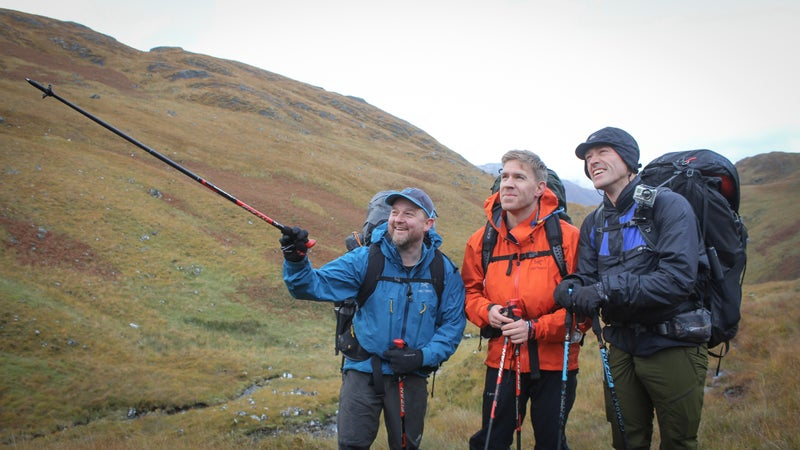 From left to right: Hikers Piers Herron, James Montague, and Adam Watson