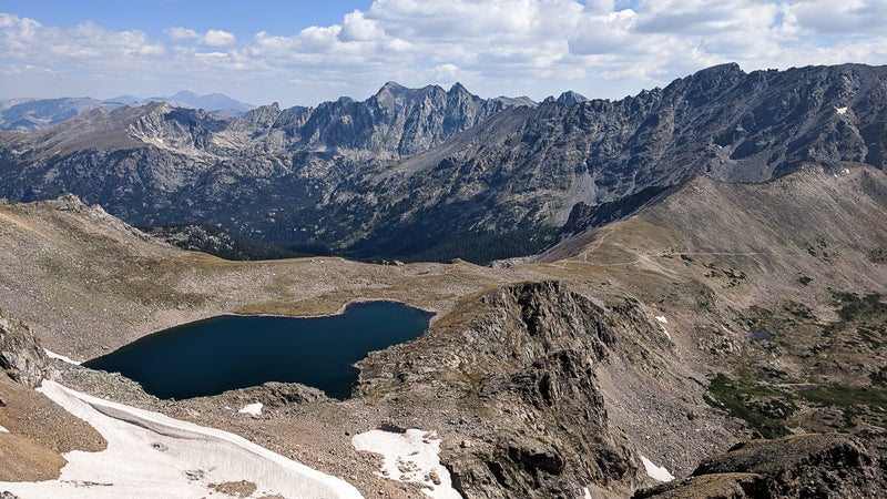 Looking north over Arapaho Pass and Lake Dorothy toward Apache Peak, Lost Tribe Lakes, and the west ridge of Lone Eagle Cirque