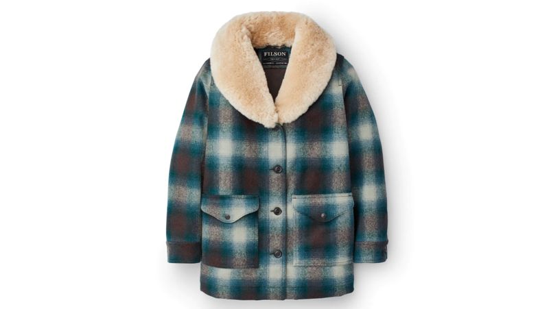 Made from heavy wool and real sheepskin shearling, Filson's wool trapper coat really does work outside.