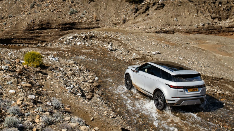 It might be a unibody, all-wheel drive crossover, but the Evoque can still handle light off-roading with aplomb.