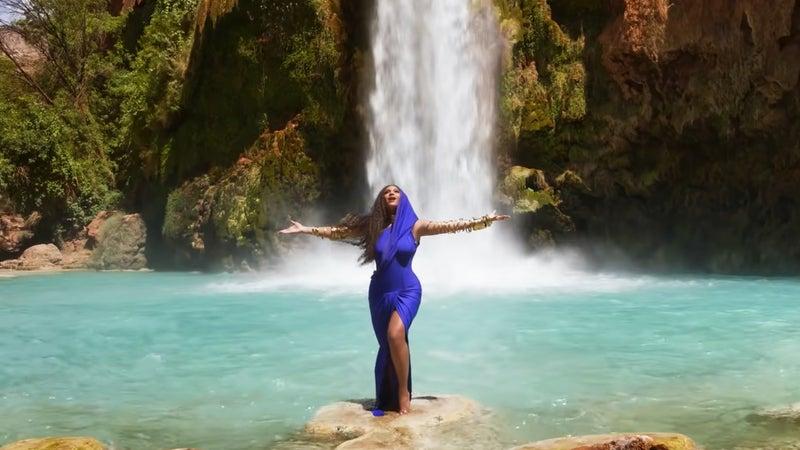 "Beyoncé at Havasu Falls in the ""Spirit"" music video."