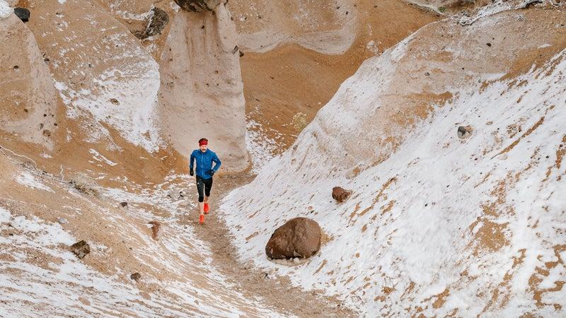 Gates navigates the snow-coated terrain of Kasha-Katuwe Tent Rocks National Monument, near Santa Fe, where he currently lives.