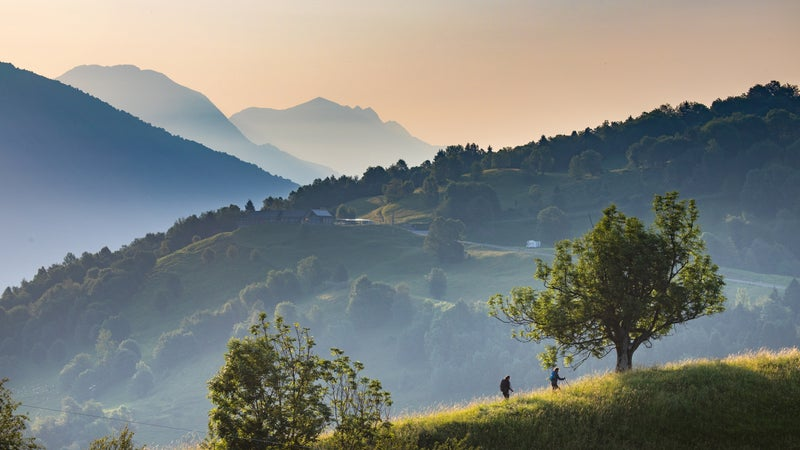 The trail running along the hills of the Soca Valley