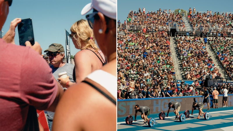 From left: Glassman navigates through a group of fans at the 2015 CrossFit Games; the crowd at the 2015 games