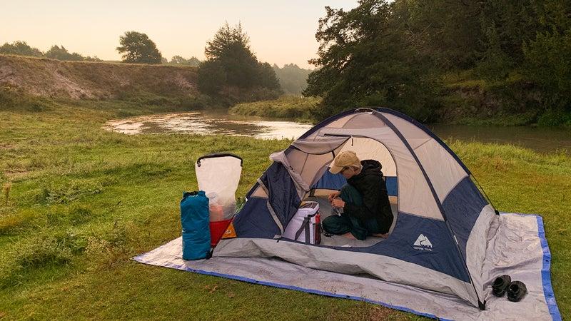 Mel at a tent site