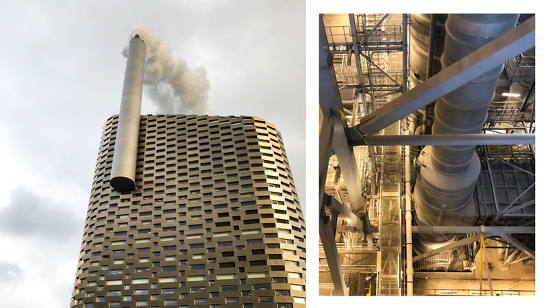 From left: CopenHill's tallest face; the waste-to-energy plant that's housed within the structure