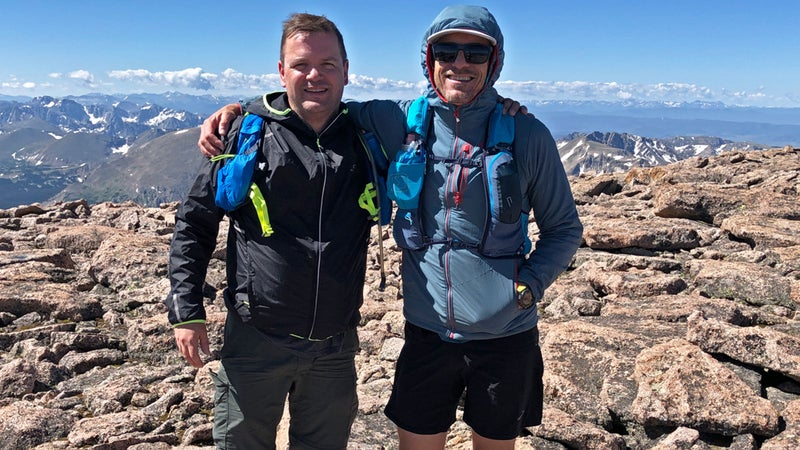 Dave (left) and the author atop Longs Peak in Rocky Mountain National Park, Colorado
