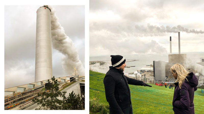 From left: CopenHill's towering smokestack; architect Bjarke Ingels (left) talking with British skier Chemmy Alcott, a four-time Olympian