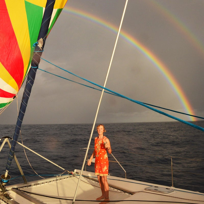 Kristy Finstad during a sailing trip across the Pacific Ocean in 2017
