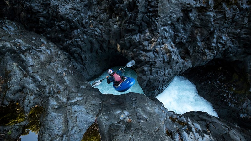 Newman drops into Tree Trunk Gorge, on New Zealand's North Island