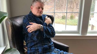 The author in the John Christian Fleece Blue Tartan robe
