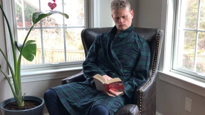 The author in the Pendleton Lounge robe