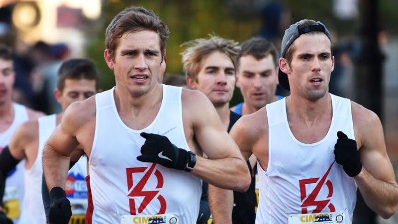 Patrick Reaves (left) earns his Trials spot at the 2018 California International Marathon.