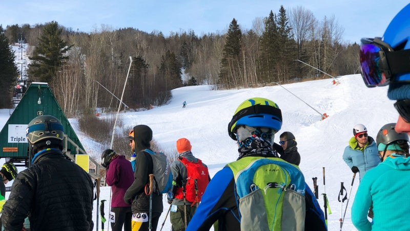 Participants lining up to compete in Last Skier Standing, held on February 15
