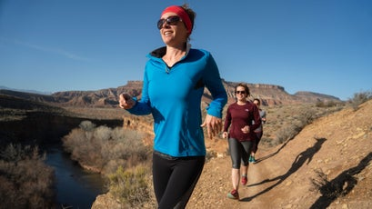 A late afternoon trail run above the Virgin River on the Lower JEM Trail. Location: Near Virgin, UT