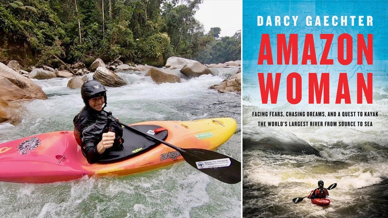 Darcy Gaechter kayaking; the cover of her book