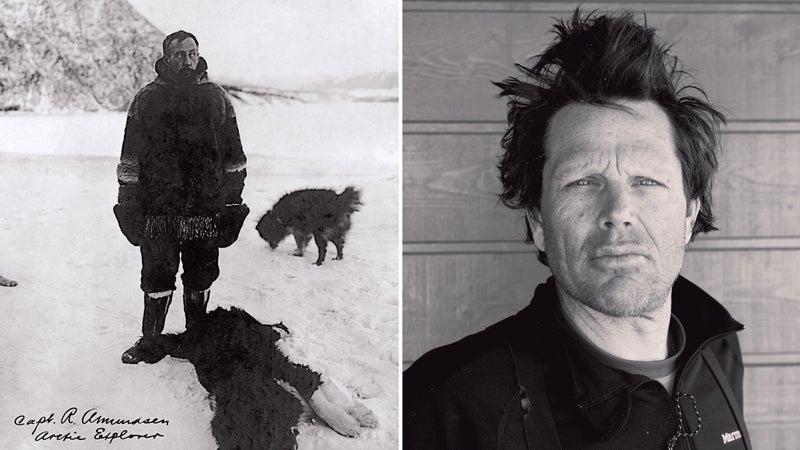 From left: the Norwegian in Alaska in 1905; the author after completing a ski traverse of the Hardangervidda Plateau.
