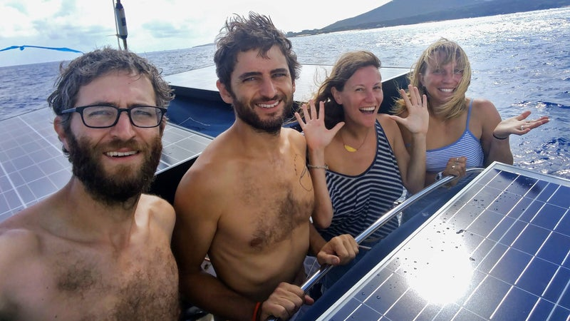 From left: Alex, Nick, Lauren and Alex leaving Ascension Island during their trip