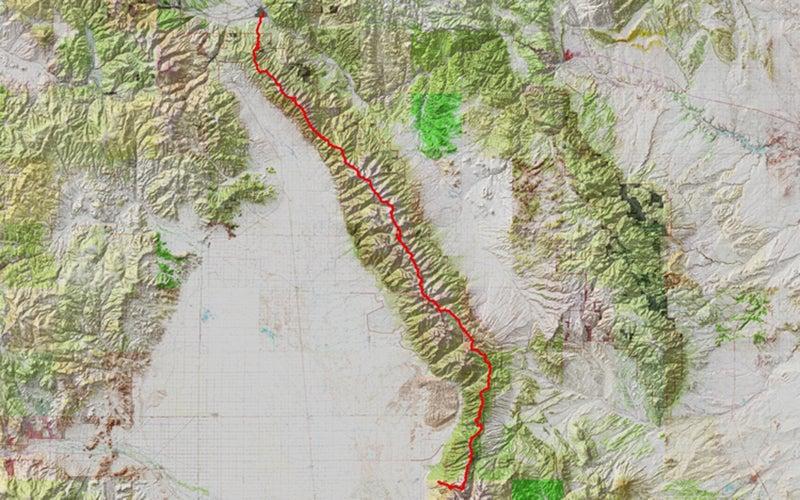 A map of the Sangre de Cristo Range