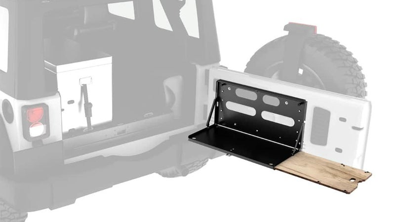 Designed for the Jeep Wrangler, the Front Runner table includes a pullout cutting board and can easily be made to fit virtually any side-opening tailgate or swingout.