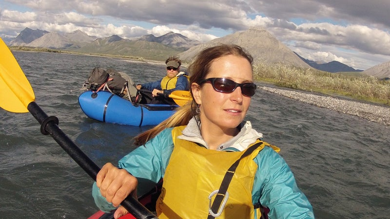 Caroline and Pat reaching the headwaters of the Noatak River in the western Brooks Range, Alaska