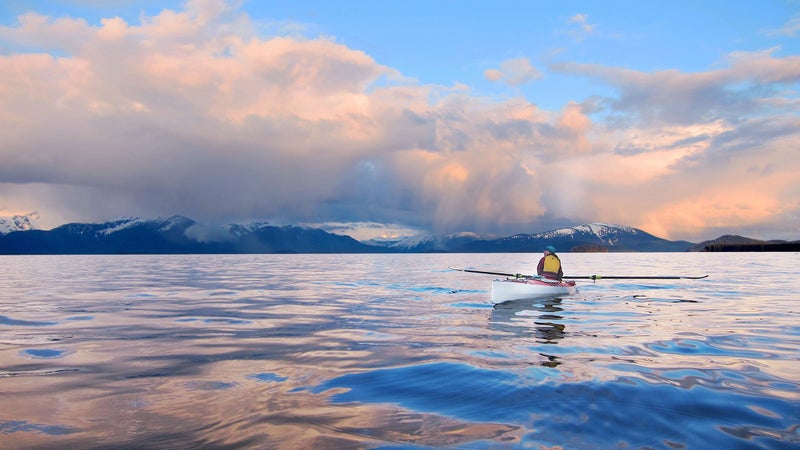 Nearing the end of the Inside Passage, Caroline savors a rare moment of calm in Frederick Sound, Southeast Alaska.