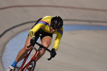 The author riding off the front of a tempo points race at the Valley Preferred Cycling Center, in Breinigsville, Pennsylvania, in 2018