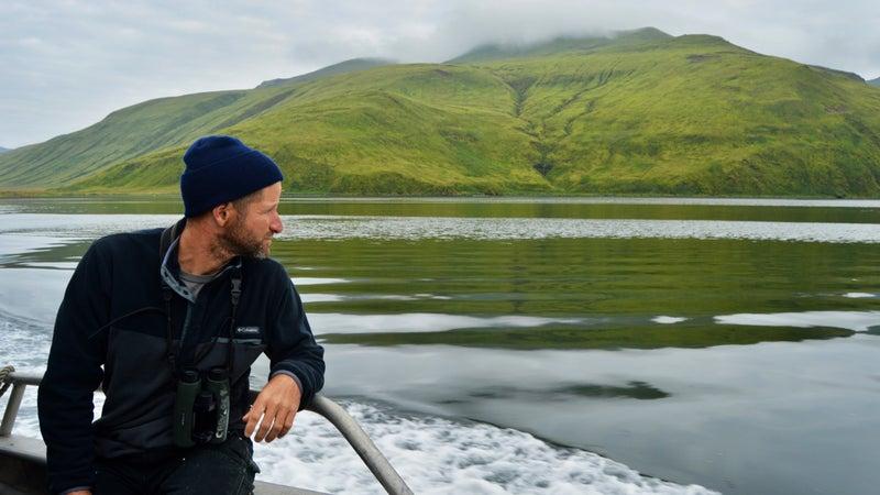 Kevin Campion en route to the abandoned whaling station at Akutan Island, Alaska