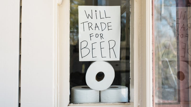 Covid-19 Window Sign About Trading Toilet Paper For Beer