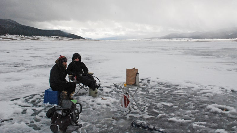 Ice fishing on Eagle Nest Lake in northern New Mexico