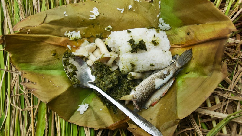 """One of La Cerva's lunches in the Kelabit highlands of Borneo consisted of fish that live in the fallow rice paddies, wild mushrooms that grow """"between hot and wet weather,"""" and the """"best rice in the world"""" in a roadless village."""