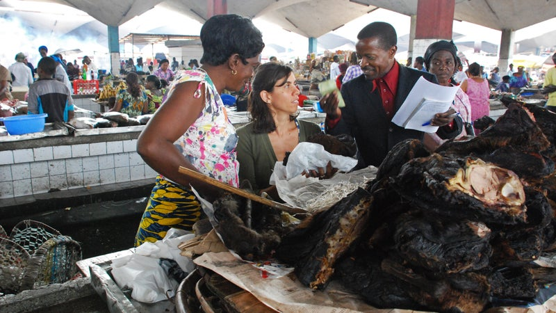 La Cerva (center) researching the wild-meat trade at the central market of Kinshasa in the Democratic Republic of Congo