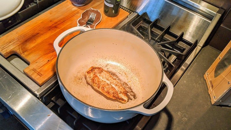 When you flip the breast after that first minute on high, the cooked side should be nicely browned.