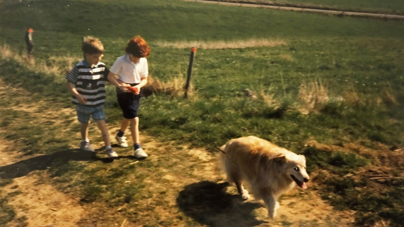 Martin Fritz Huber (left) as a seven-year-old, walking with friends during a volksmarch in Germany.