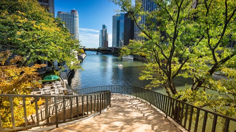 Stairs to the Chicago Riverwalk