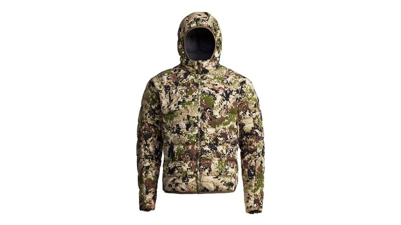 Sitka's Kelvin Lite Down Hoody weighs 17 ounces in size large and packs into one of its hand pockets. It's also exceptionally warm and can be worn in normal conditions like the best ultralight down jackets out there.