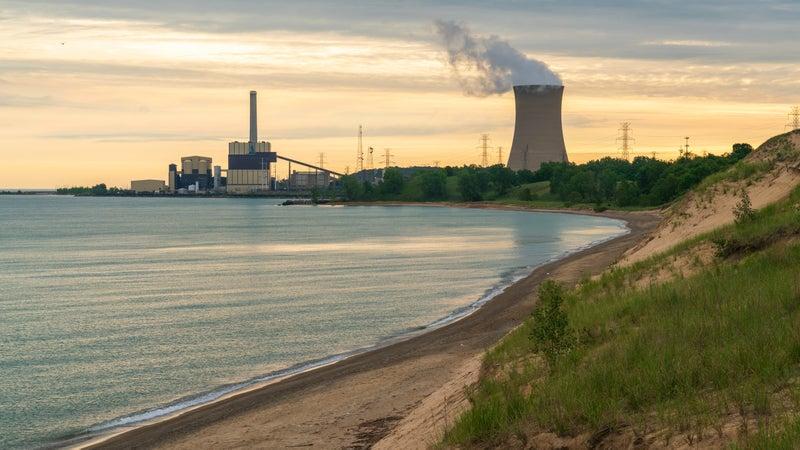 Powerplant with Coastline at Indiana Dunes National Park