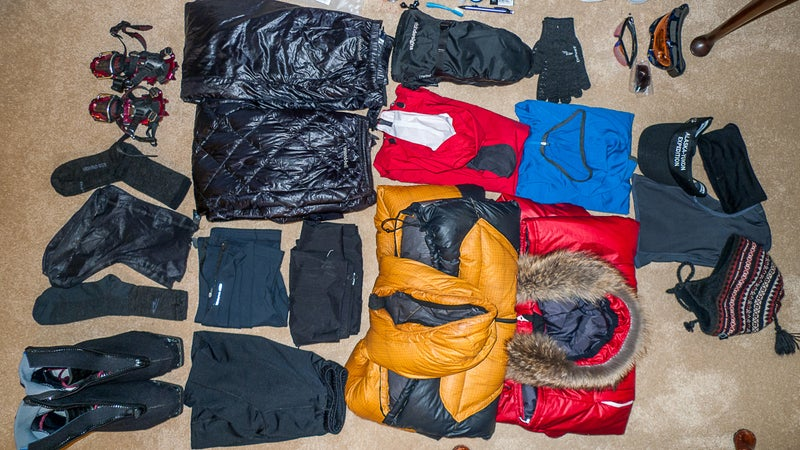 Clothing, footwear, and a few other items for the winter months of my Alaska-Yukon expedition