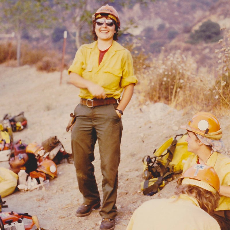 Gina Papke as a captain for the Zigzag Hotshots in the late 1980s. Papke went on to become the country's first permanent female hotshot superintendent—a hotshot crew's highest leadership position—in 1991.