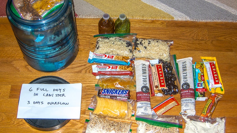 """Food for a nine-day yo-yo of Colorado's Pfiffner Traverse. Six days' worth fits in my BV500, and I ate through the """"overflow"""" prior to entering Rocky Mountain National Park, where the canister is required."""