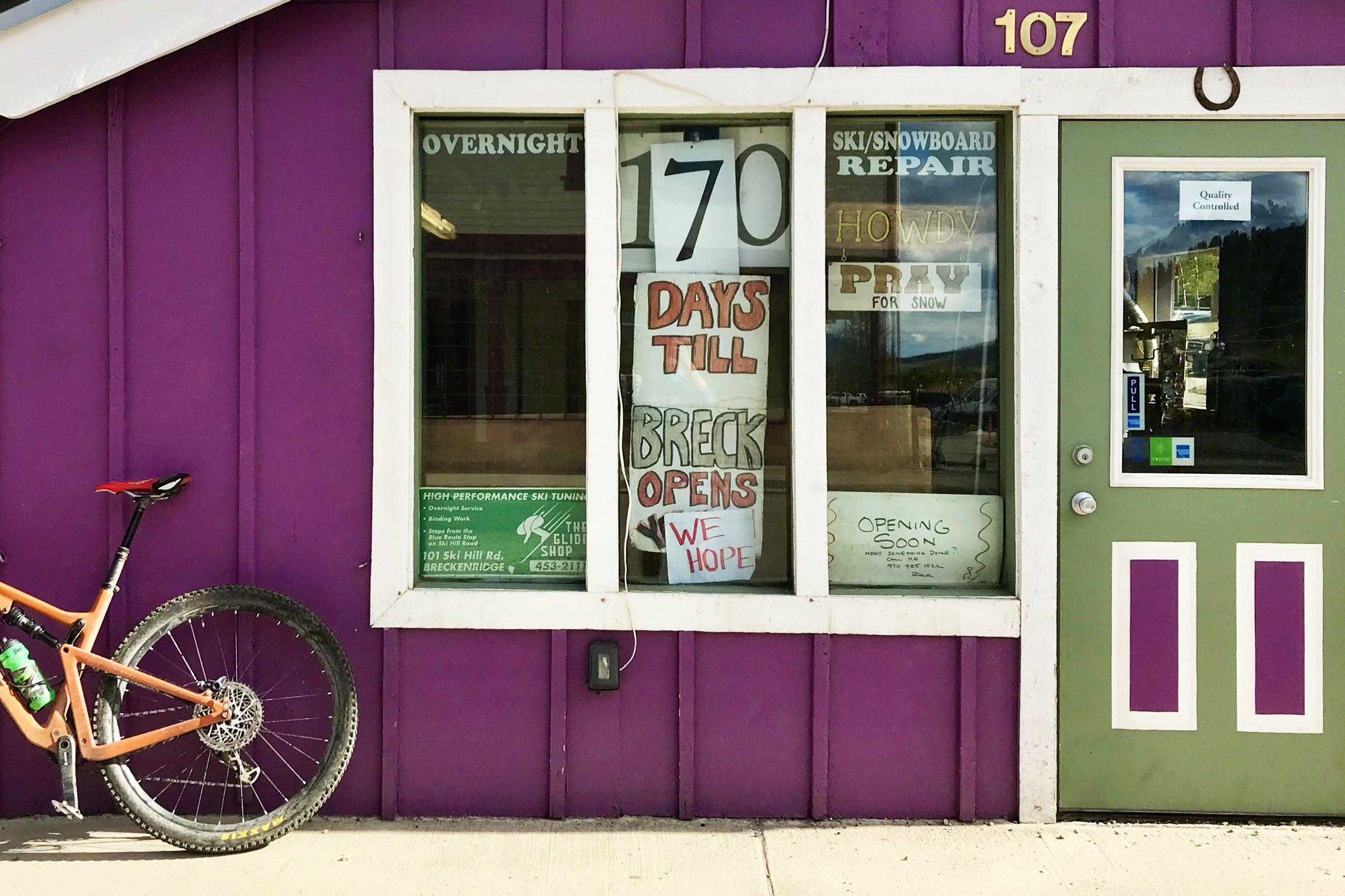This tiny tune shop on Ski Hill Road does an annual countdown to opening day. This year, the owner, Pup Ascher, added a caveat.